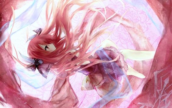 Wallpaper Pink hair anime girl dancing