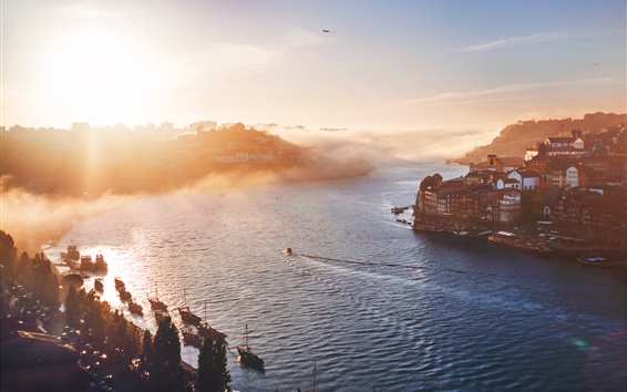 Wallpaper Porto, Portugal, city morning, houses, sunrise, river, fog