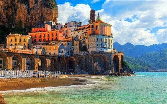 Обои Позитано, Италия, Амальфи, Италия, дома, побережье, море