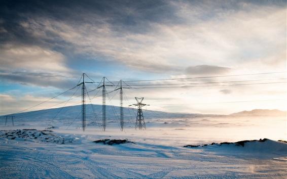 Wallpaper Power lines, winter, snow
