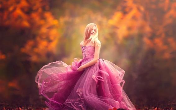 Wallpaper Purple dress little girl dance
