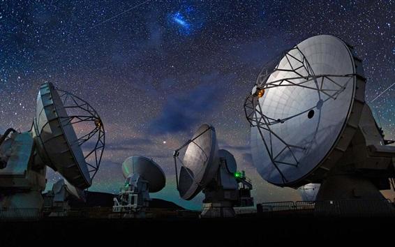 Wallpaper Radio telescope, night, starlight