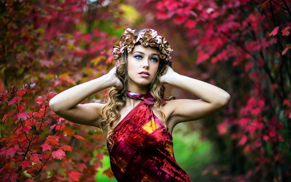 Wallpaper Red dress girl in autumn, rose wreath, maple leaves