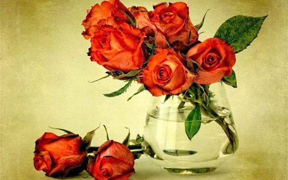 Обои Красные цветы, букет роз, ваза, вода