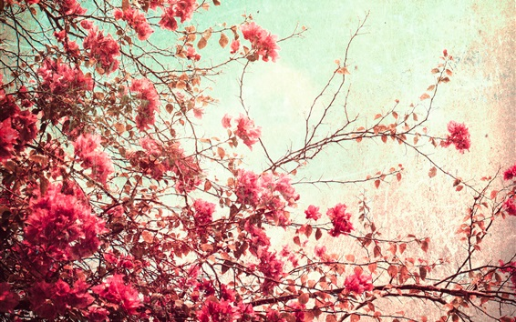 Wallpaper Red leaves and flowers, twigs, tree, art style