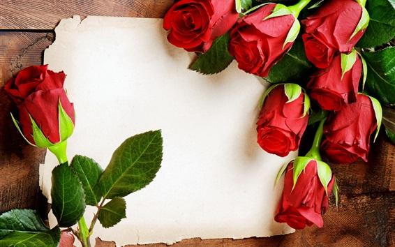 Wallpaper Red rose flowers, romantic, paper