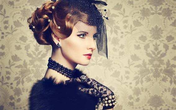 Обои Ретро стиль макияж, портрет девушки