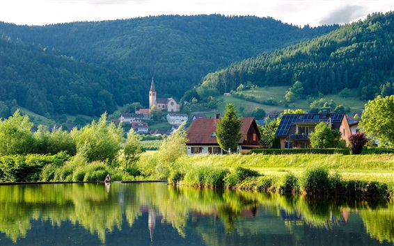 Wallpaper River, forest, hills, houses, Germany
