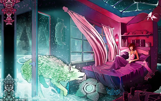 Wallpaper Room, curtains, bed, girl, wolf, wind, art drawing