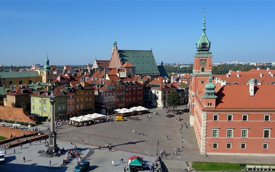 Wallpaper Royal Palace, Poland, Warsaw, old town, houses, street