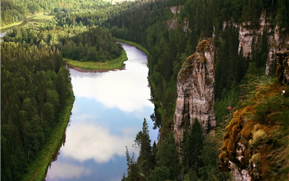 Wallpaper Russia, Perm, river, forest, mountain, cliff
