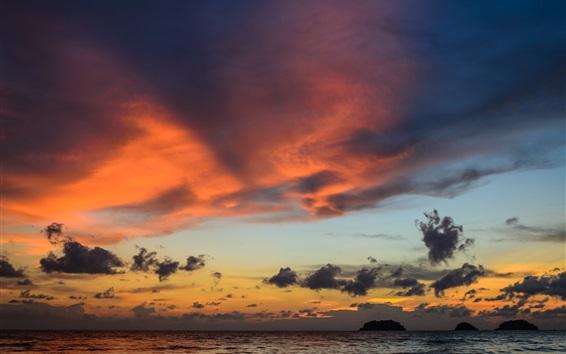 Wallpaper Sa Kaeo, Thailand, dawn, sea, clouds