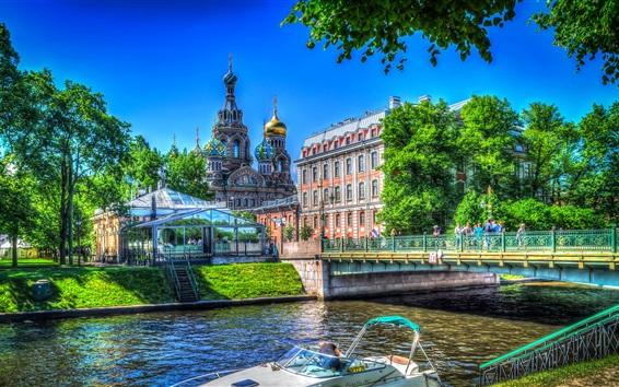 Fond d'écran Saint-Pétersbourg, église, Russie, rivière, pont, arbres