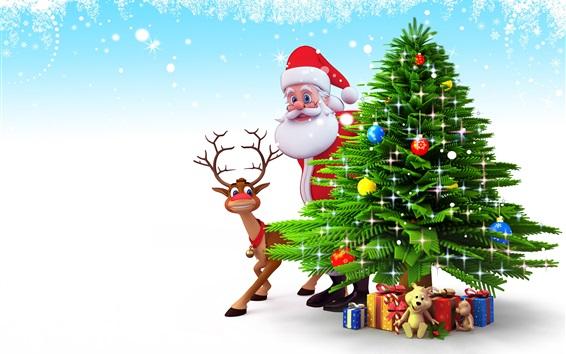 Fond d'écran Santa Claus, arbre de Noël, cerfs, cadeaux, image d'art 3D