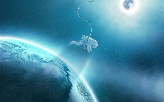 Обои Спутниковые, планеты, астронавт, пространство, звезды