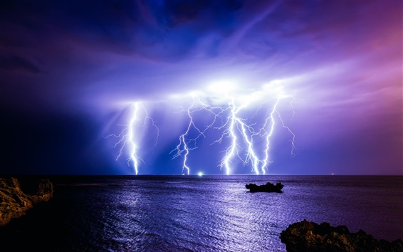 Wallpaper Sea, lightning, night, Australia