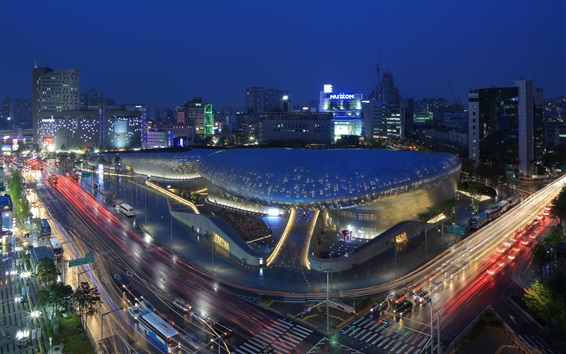 Wallpaper Seoul, Korea, city night, Dongdaemun Design Plaza, road, lights