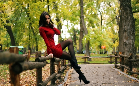 Wallpaper Sexy red dress girl, stockings, park, trees