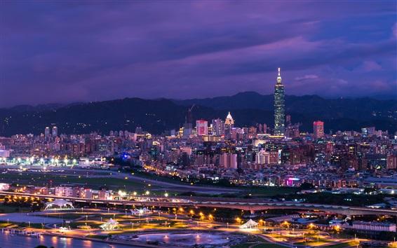 Wallpaper Skyscrapers, city night, lights, Taipei, Taiwan