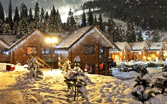 Wallpaper Snow, winter, snowflakes, houses, New Year and Christmas
