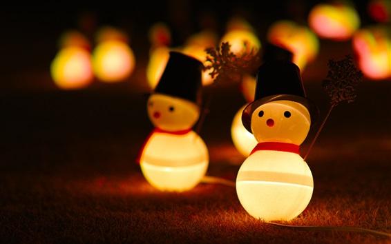 Wallpaper Snowman toys, lights, night