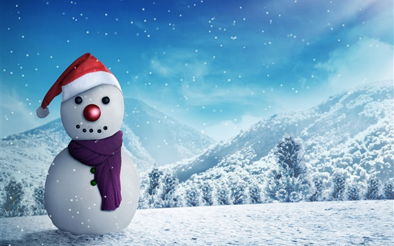Wallpaper Snowman, winter, snow, New Year