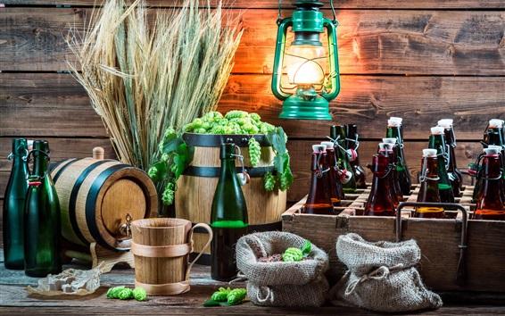 Fond d'écran Nature morte, blé, houblon, bière, bouteilles, lanterne