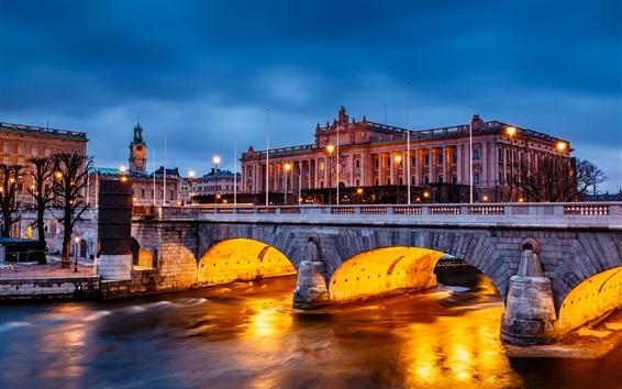 Wallpaper Stockholm, Sweden, city night, Parliament Building, bridge, lights