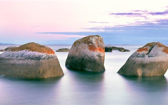 Papéis de Parede Pedras, mar, nuvens