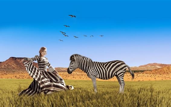 Wallpaper Striped dress girl and zebra, Africa, grass, art photography