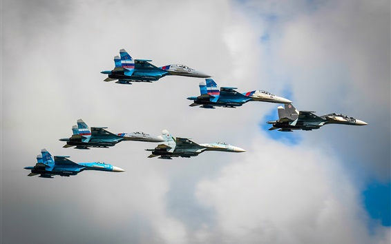 Wallpaper Su-27 fighters in sky, Russia air force