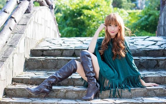 Wallpaper Summer Asian girl sitting at bridge stairs