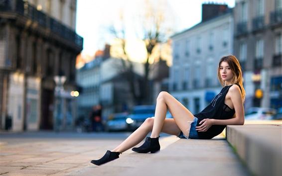 Wallpaper Summer dress girl, city, stairs, beautiful legs