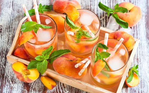Wallpaper Summer fruit drinks, peaches, mint