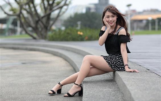 Wallpaper Summer short dress Asian girl, slender legs