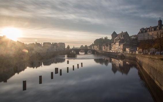 Wallpaper Sunrise, river, bridge, houses, morning, fog, Laval, France