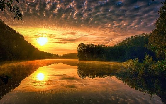 배경 화면 일몰, 강, 나무, 구름, 물 반사