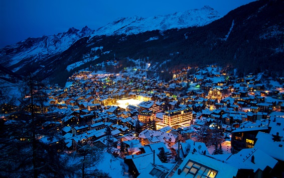 Fond d'écran Suisse, Zermatt, ville, nuit, Alpes, hiver, maisons, neige