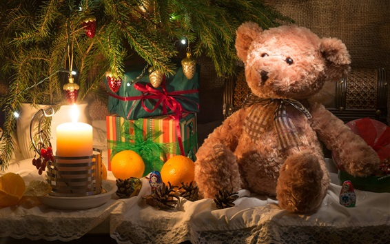 Christmas Teddy Bear Wallpaper: Teddy Bear And Gift, Candle, Christmas Theme Wallpapers