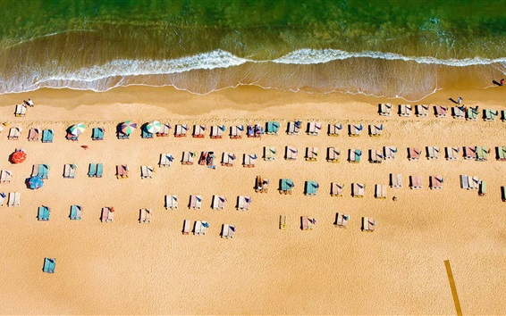 Top view the beach, sun loungers, sea Wallpaper Preview