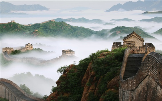 Wallpaper Travel to China, The Great Wall, fog, mountains, dawn