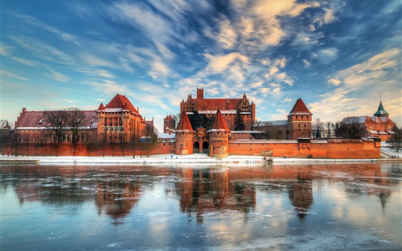 Wallpaper Travel to Poland, castle, lake, water reflection, winter, snow
