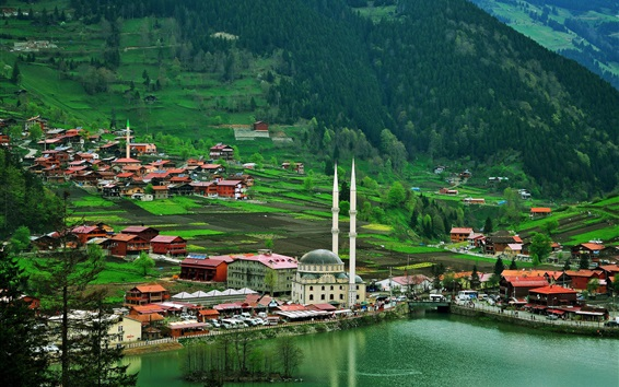 Wallpaper Turkey, Trabzon, city, houses, mountains, trees, river