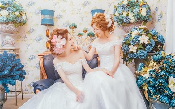 Wallpaper Two girls, bride, twin