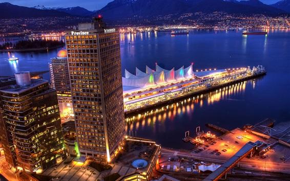 Fondos de pantalla Vancouver, Canadá, noche de la ciudad, rascacielos, mar, barcos, iluminación