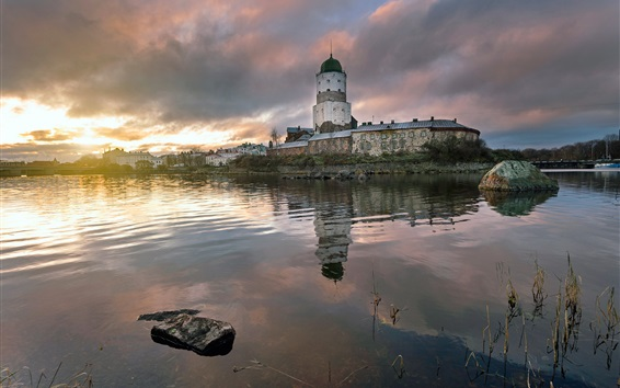 Wallpaper Vyborg, Russia, river, houses, clouds, dawn, morning
