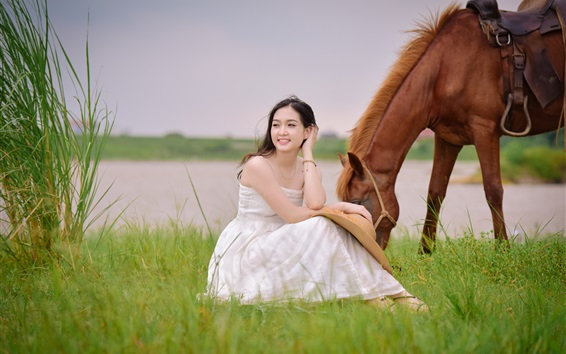 Wallpaper White dress Asian girl sit in grass, brown horse