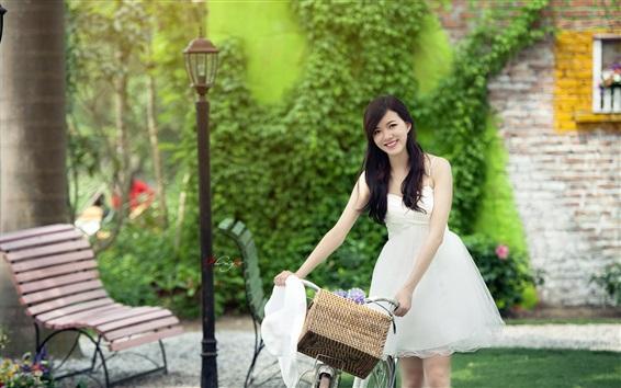 Wallpaper White dress Chinese girl smile, bike