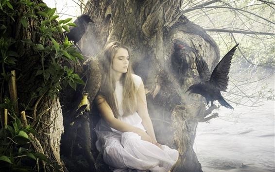 Wallpaper White dress girl at lakeside, black bird, crow
