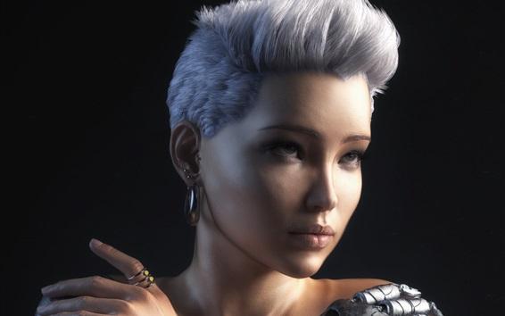 Wallpaper White hair girl, black background